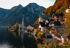 Hallstatt in Autumn stock image