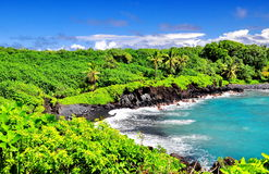 Overlooking Hawaii. One of the overlooks on the Road to Hana in Maui, Hawaii. Black Sand Beach royalty free stock images