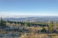 Overlooking the hills covered by the forest in Taunusstein royalty free stock photo