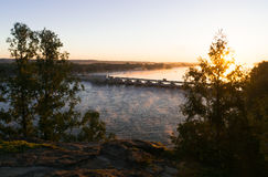 Overlooking the Illinois River at sunrise. Royalty Free Stock Photography