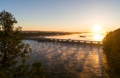 Overlooking the Illinois River at sunrise. Royalty Free Stock Images