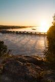 Overlooking the Illinois River at sunrise. Stock Photos