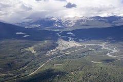 Overlooking Jasper Town from Mount Whistler Stock Photo