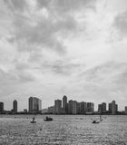 Overlooking Jersey City from the Hudson River Blac Royalty Free Stock Photo