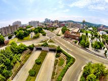 Overlooking Knoxville. Overlooking shot of Knoxville, TN. Taken with aerial photography Stock Photography