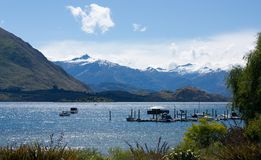 Overlooking the Lake Wanaka in Wanaka in New Zealand stock image