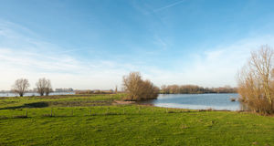 Overlooking a large Dutch river in autumn Royalty Free Stock Photography