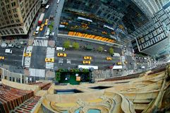 Overlooking Madison Avenue. Fish eye view overlooking Madison Avenue from the top of a tall building royalty free stock photography