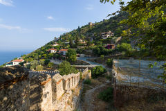 Overlooking the Mediterranean Sea and the edge of a hill with houses Stock Image