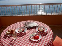 Breakfast on apartment balcony in Fuengirola on the Costa Del Sol Royalty Free Stock Image