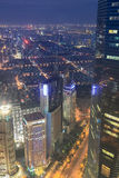 Overlooking metropolis of shanghai at night Stock Photo