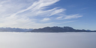Overlooking the mist-covered Isarwinkel Royalty Free Stock Image