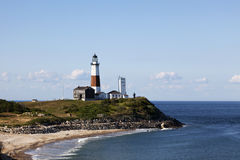 Overlooking the Montauk Point Lighthouse. From the cliffs of Camp Hero. Montauk Point, Long Island, New York Royalty Free Stock Images