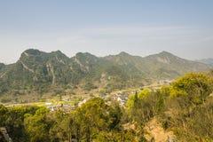 Overlooking mountain village Stock Photo