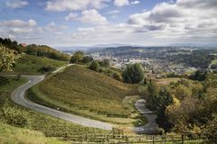 Overlooking the mountains, winding roads, vineyards and resident. Ial areas Stock Photo