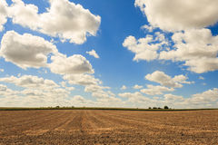 Overlooking a mowed field and sky with clouds. Royalty Free Stock Images