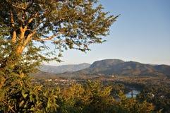Overlooking the Nam Khan River, Luang Prabang. View overlooking the Nam Khan River in Luang Prabang, Laos, Asia Stock Images