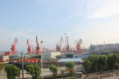 Overlooking Nanshan Chiwan container Port at SHENZHEN,CHINA,ASIA Stock Photo