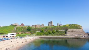 Tynemouth Castle and Priory. Overlooking the North Sea and the River Tyne, Tynemouth Castle and Priory, on the coast of North East England, was once one of the Royalty Free Stock Images