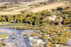 overlooking Nuanhe River autumn scenery Stock Photo