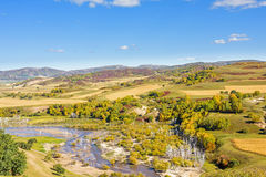 overlooking Nuanhe River autumn scenery stock photos