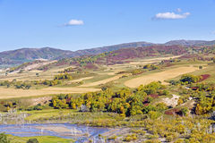 overlooking Nuanhe River autumn scenery stock photo
