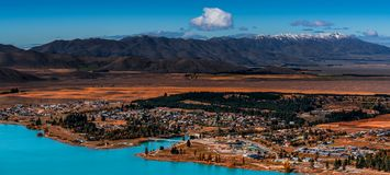 Free Overlooking Of Town And Lake Tekapo Royalty Free Stock Photography - 162107017