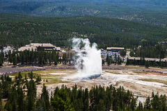 Overlooking the Old Faithful from Geyser Hill. At Yellowstone National Park stock photography