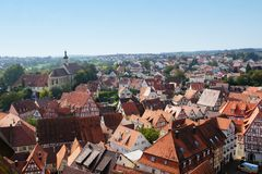 Overlooking the old town of bad wimpfen Royalty Free Stock Photography