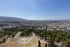 Greek open air Amphitheater in Athens stock photos