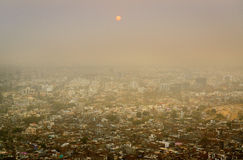 Overlooking the pink city of Jaipur from Nahargarh Fort Stock Photos