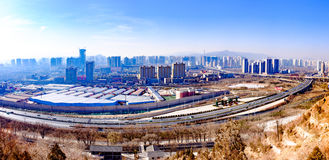 Overlooking the Plateau Pearl - Qinghai, Xining. 。 Xining is a city with a history of more than 2 thousand and 100 years of ancient plateau, called Xiping royalty free stock photos