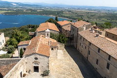 Overlooking of Populonia, Tuscany. Overlooking of Populonia fortress inside, Etruscan city in Tuscany, Italy. Sitting atop a hill surrounded by the sea in the stock image