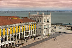 Overlooking the Praca do Comércio in Lisbon Royalty Free Stock Images