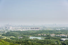 Overlooking the Pukou area at the top of Miaogao peak Royalty Free Stock Photography