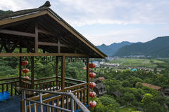 Overlooking Red lantern Rural homes Stock Photography