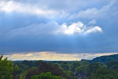 The clouds fill Rochester NYS City Skyline Stock Images
