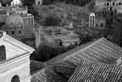 Overlooking the Roman Forum. A black and white view overlooking the ruins of the Roman Forum from the roof of the Altare della Patria in Rome, Italy Royalty Free Stock Photography