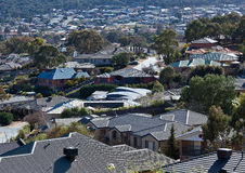 Overlooking roofs of recently built houses. View overlooking roofs of recently built houses in development near Queanbeyan Royalty Free Stock Images