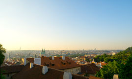 Overlooking the rooftops of Prague Stock Photo