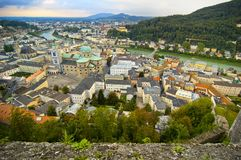 Overlooking Salzburg. Overview of city of Salzburg in Austria, from the perspective of Hohensalzburg, a castle that overlooks the city.  (Europe Royalty Free Stock Photos
