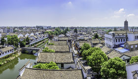 overlooking Sanhe Ancient Town royalty free stock images