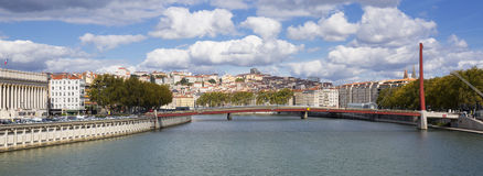 Overlooking the Saone river in Lyon Royalty Free Stock Image