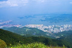 Overlooking the seaport. Overlooking the port from the hills near a city in shenzhen,china Royalty Free Stock Images