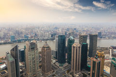 Overlooking shanghai in the afternoon Stock Photo