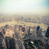 Overlooking shanghai at dusk Stock Photo