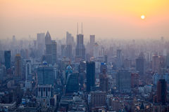 overlooking shanghai in the dusk from the oriental pearl tv tower Royalty Free Stock Photography
