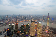 Overlooking shanghai at evening Stock Images