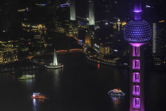Overlooking the Shanghai Huangpu River Bund and Lujiazui Royalty Free Stock Photos