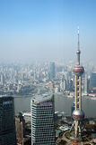 Overlooking Shanghai Lujiazui with oriental pearl tv tower Stock Images